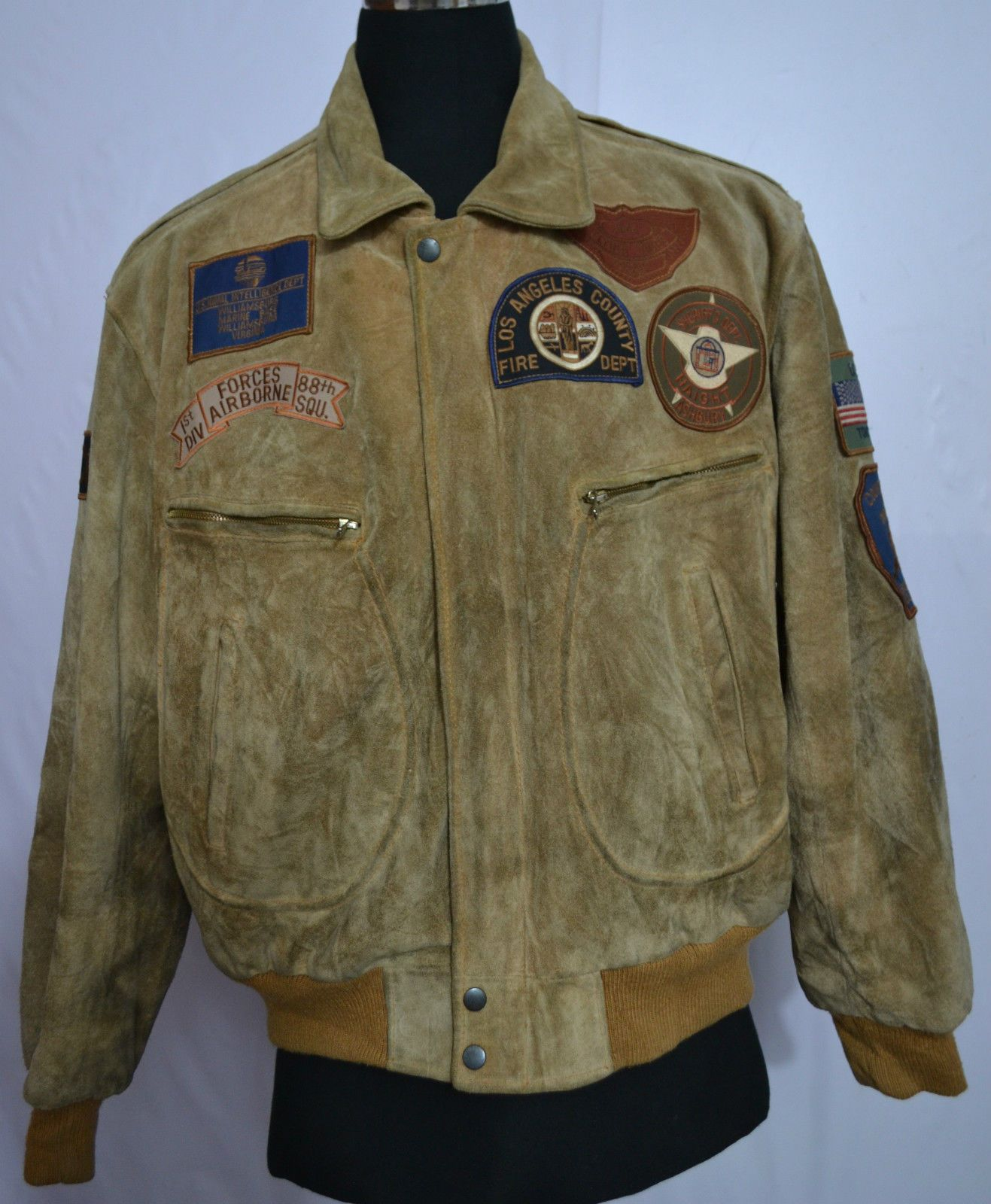 Leather jacket patches - Men S Bomber Flight Suede Leather Jacket With 4 Military 4 Civilian Patches
