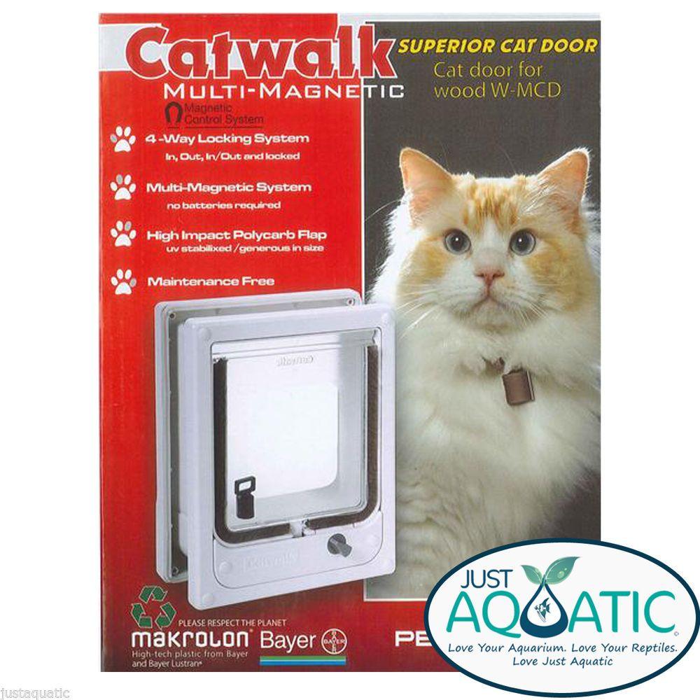 NEW CATWALK MULTI MAGNETIC Superior Cat Dog Door for Wood White 2 Collar Keys