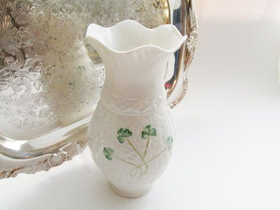 Vintage Belleek Vase Irish Porcelain And Shamrock Vase Belleek Vase