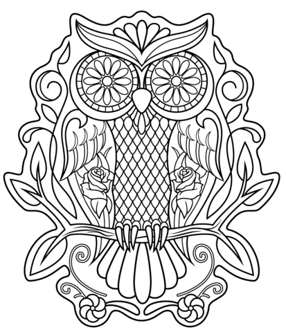 sugar skull owl coloring page from sugar skulls category select from 21312 printable crafts of