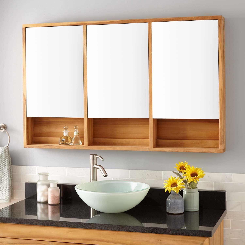 48 Quot Bastian Teak Medicine Cabinet Natural Teak Bathroom Decor Bathroom Vanity Bathrooms Remodel