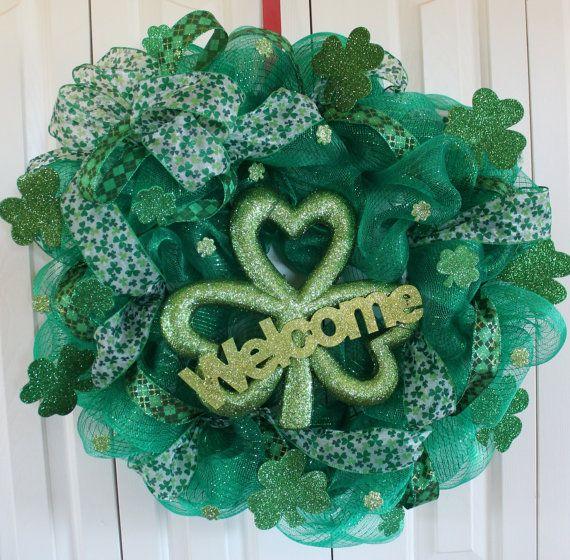 Green Deco Mesh Welcome St. Patricks Day Wreath.  St. Patricks Day Decoration.  St. Ptricks Day Decor.  Green Shamrock wreath. on Etsy, $38.00