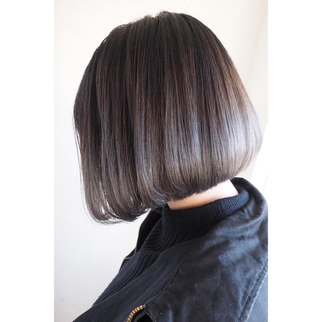グレーパールのグラデーションカラー 地毛の黒髪を活かして中間