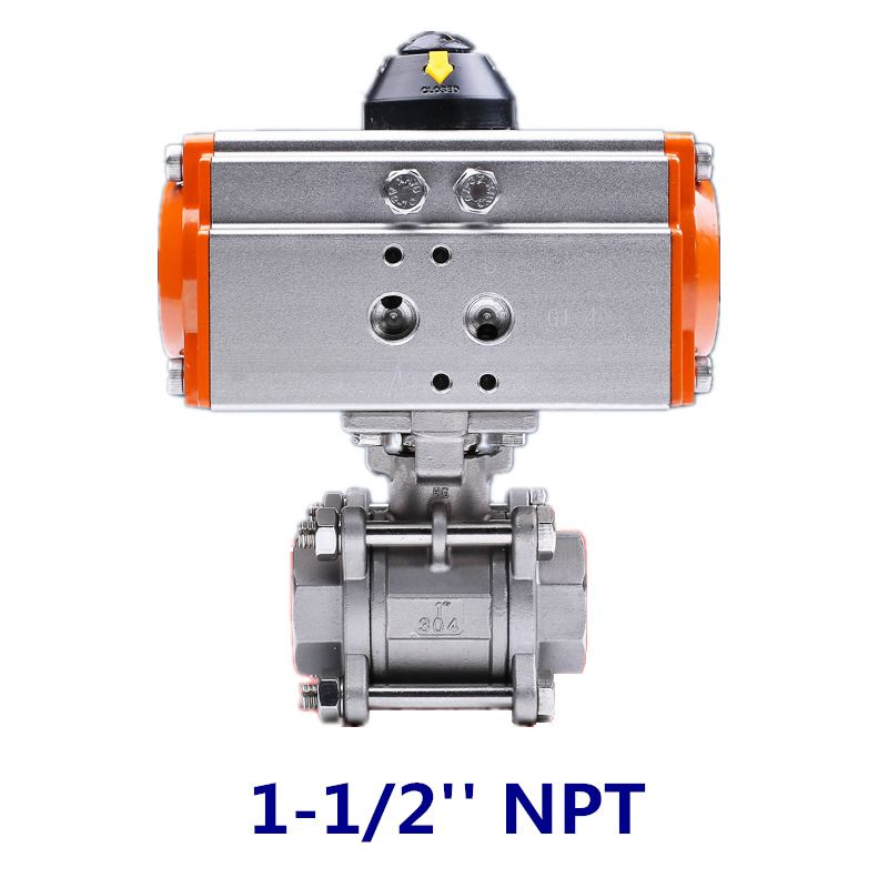 1 1 2 Inch Pneumatic Double Acting Air Return Air Actuated Stainless Ball Valve Air Return Valve Ebay