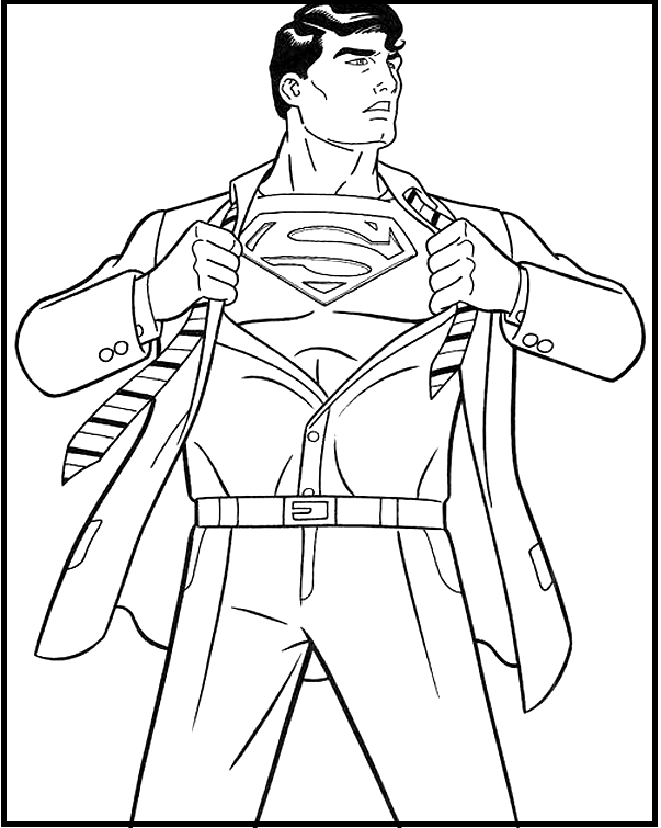 Superman Costume Changes Coloring Picture For Kids Siluet