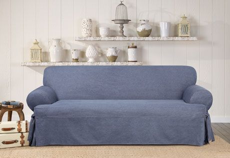 authentic denim one piece sofa slipcover home muebles rh pinterest cl