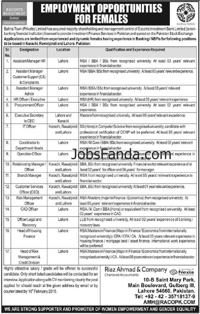 Bahria Town EIB Bank Jobs 2018 In Lahore For Assistant Managers - logistics officer job description
