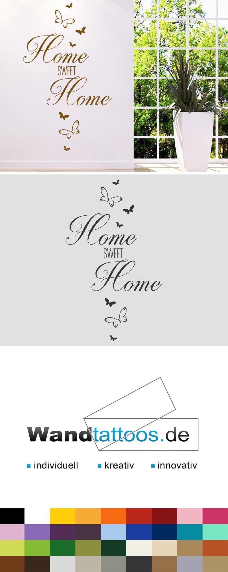 Ansprechend Wandtattoo Home Sweet Home Dekoration Von Mit Schmetterlingen Als Idee Zur Individuellen Wandgestaltung.