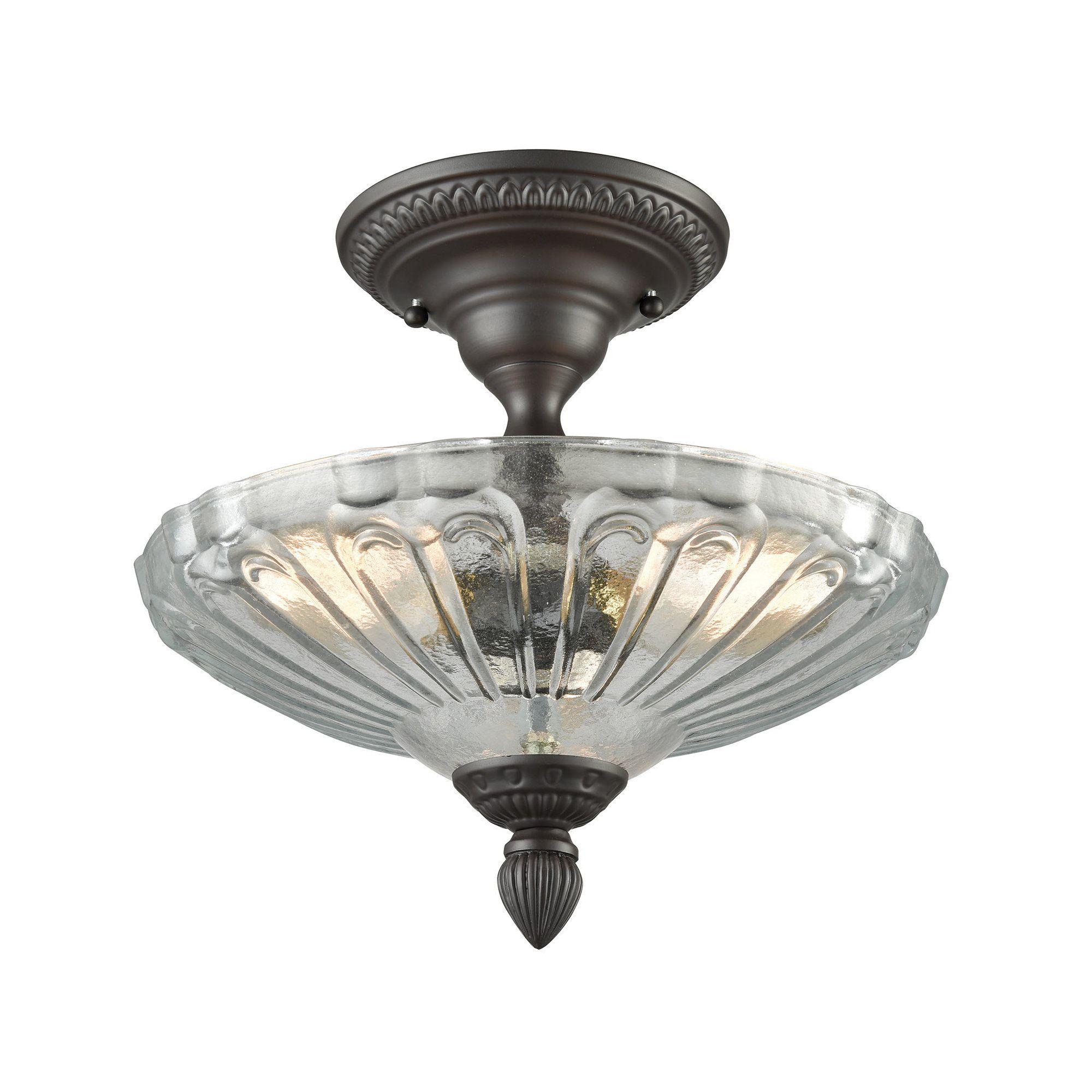 Albreda 3 Light 12 Simple Urn Semi Flush Mount Flush Lighting Bronze Ceiling Lights Elk Lighting