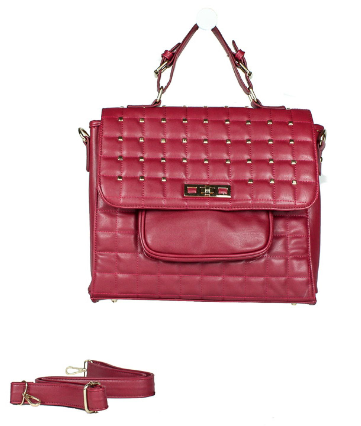 QUILTED STUDDED RED BAG from wholesalefashionshoes.net