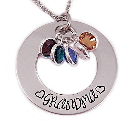 Grandma Birthstone Washer Necklace - Hand Stamped Personalized Jewelry