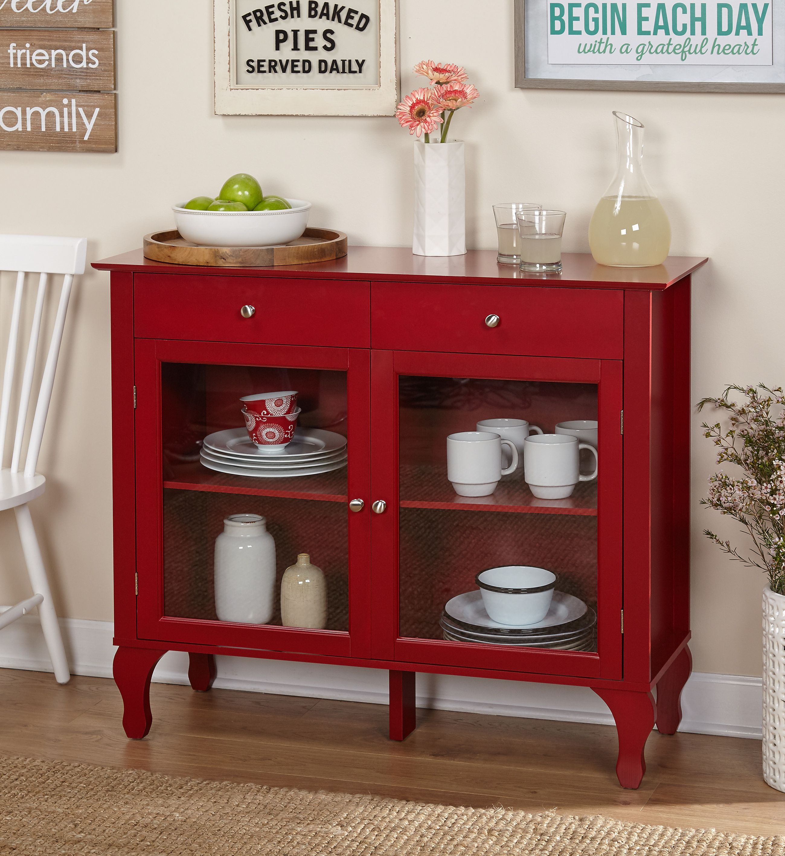 Tms Layla 2 Drawer Buffet Cabinet Multiple Colors Walmart Com In 2020 Red Buffet Dining Room Storage Cabinet Furniture