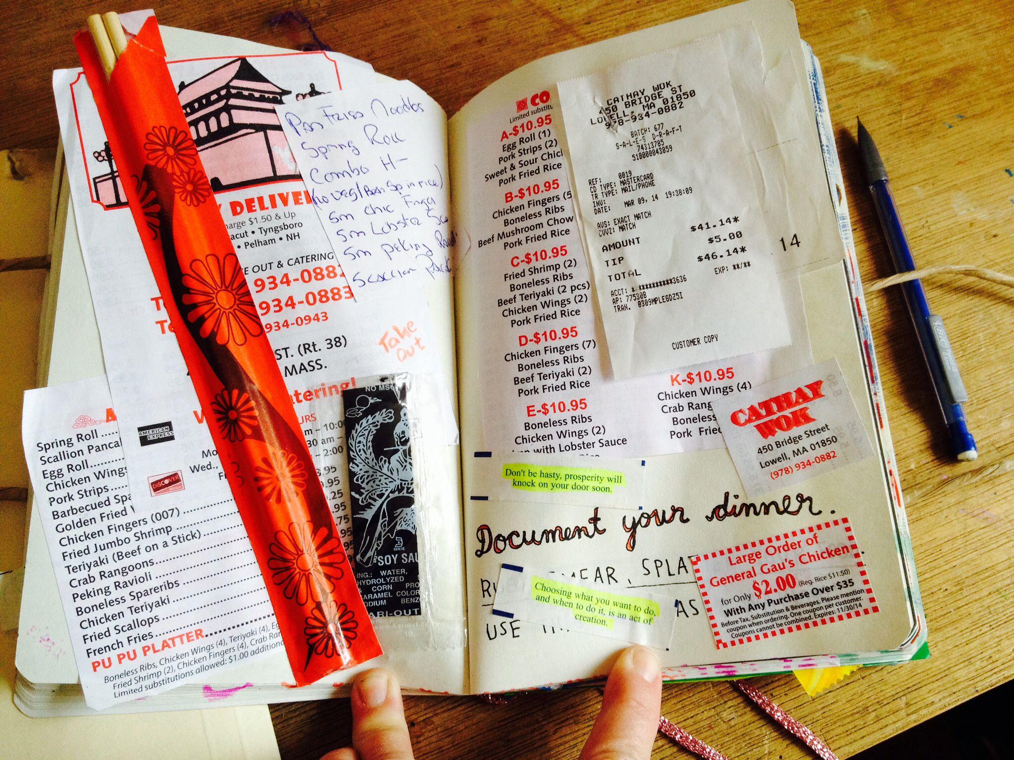 Wreck this journal, document your dinner. J. McCallum, 2014