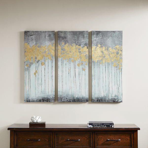 Clay Alder Home Poinsett Grey Forest Grey Gold Foil Embellishment 3-piece Set Gel Coat Canvas