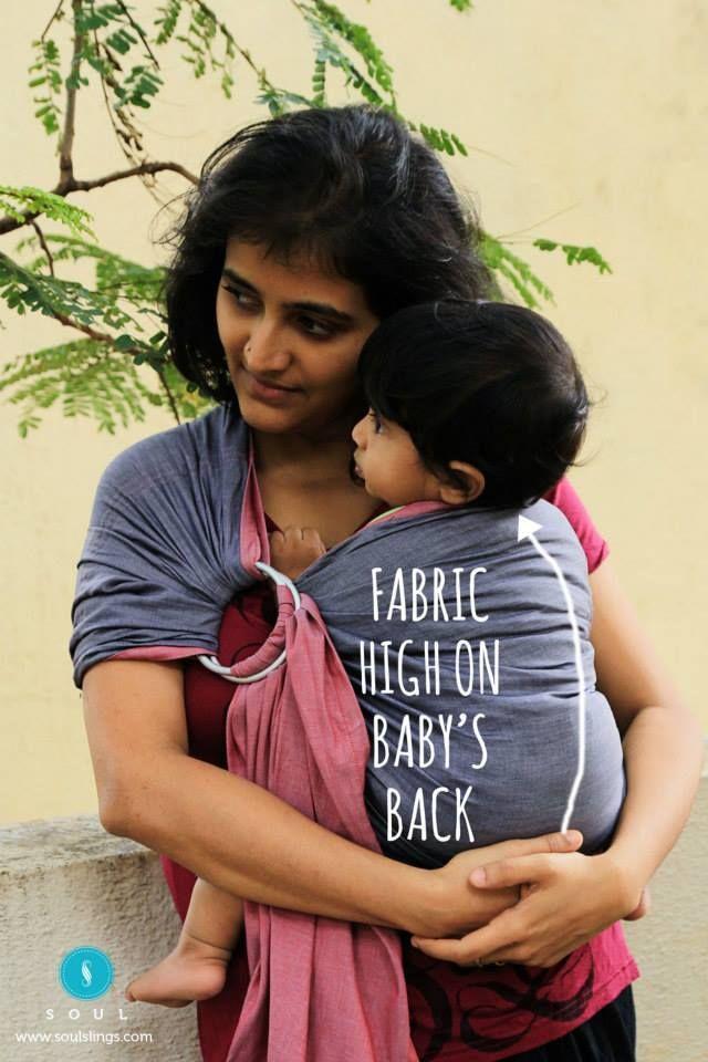 d6d0572751f Fabric high on baby s back  RingSlingIndia