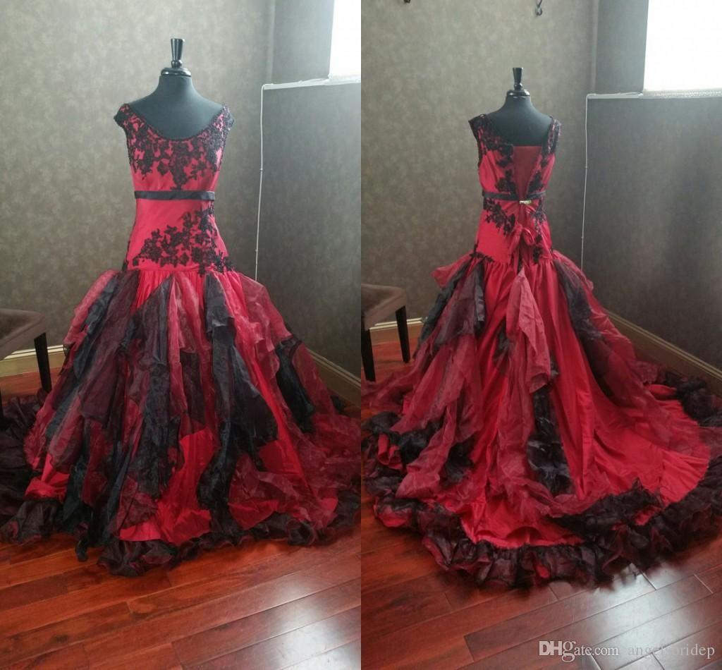 Discount Burgundy And Black Gothic Wedding Dresses Off The Shoulder Appliques Ruffles Orga Wedding Dress Sample Sale Short Wedding Dress Wedding Dresses Unique [ 950 x 1024 Pixel ]