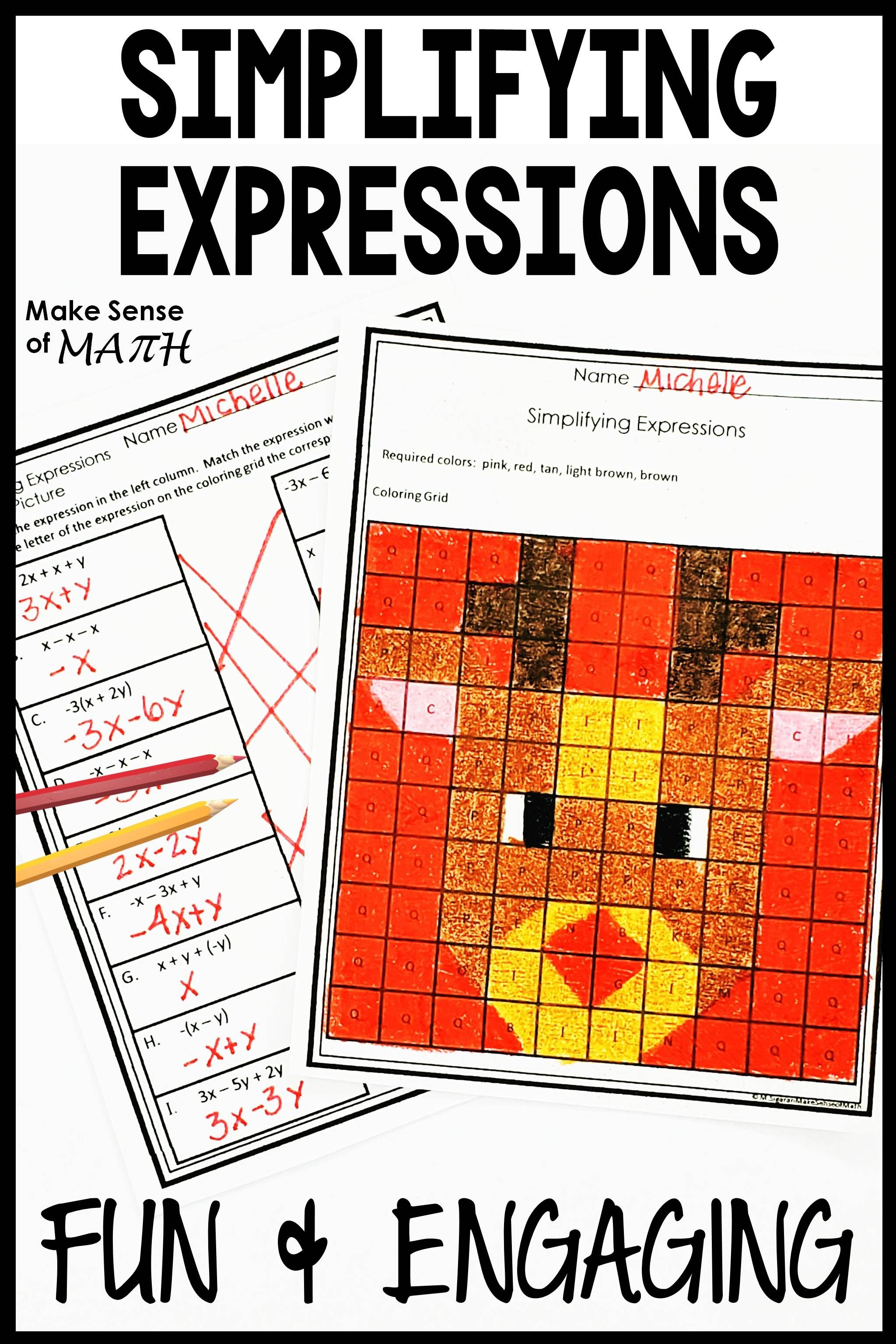 small resolution of Christmas Math Activity Worksheets - Simplifying Expressions   Christmas  math activities