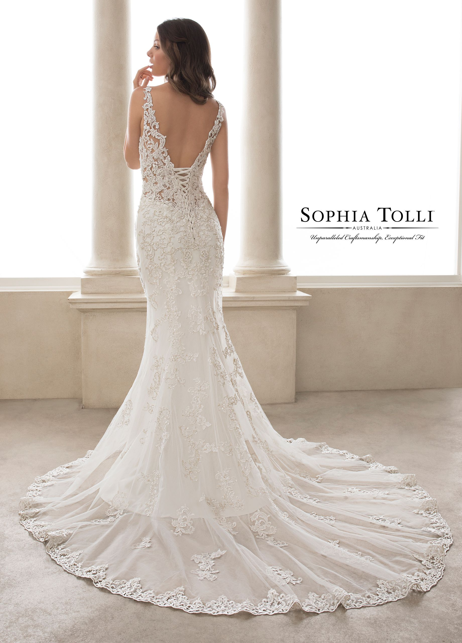 ac1cc104382 Wedding Dress Gallery · Beaded Lace · Sophia Tolli Y21817 Turquoise -  Celebrate your figure in seductive Turquoise