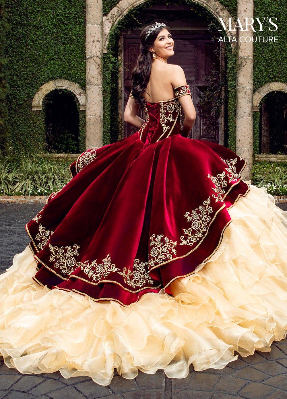 Marys Bridal Mq3037 Ruffle Skirt Quinceanera Gown 15 Dresses Quinceanera Red Wedding Dresses Quincenera Dresses [ 1391 x 1000 Pixel ]