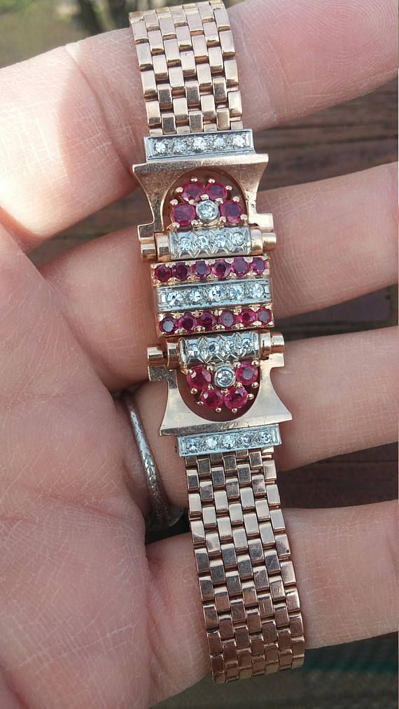Retro 14k Gold Diamond Ruby Ladies Wrist Watch Exceptional