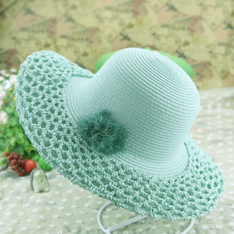 Primavera e verão coreano crochê de palha de ráfia chapéu de sol ocasional  flor decoração 2f56cb275a2