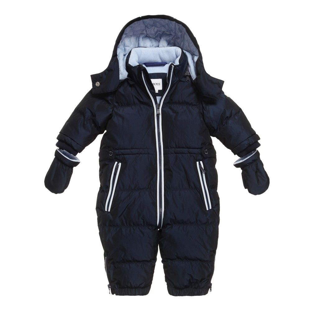 Baby Boys Snowsuit By Boss Made In A Navy Blue Smooth