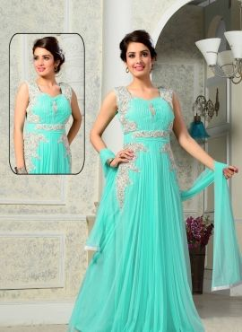 5195ee0366f4 Turquoise latest indian gown for party wear in net