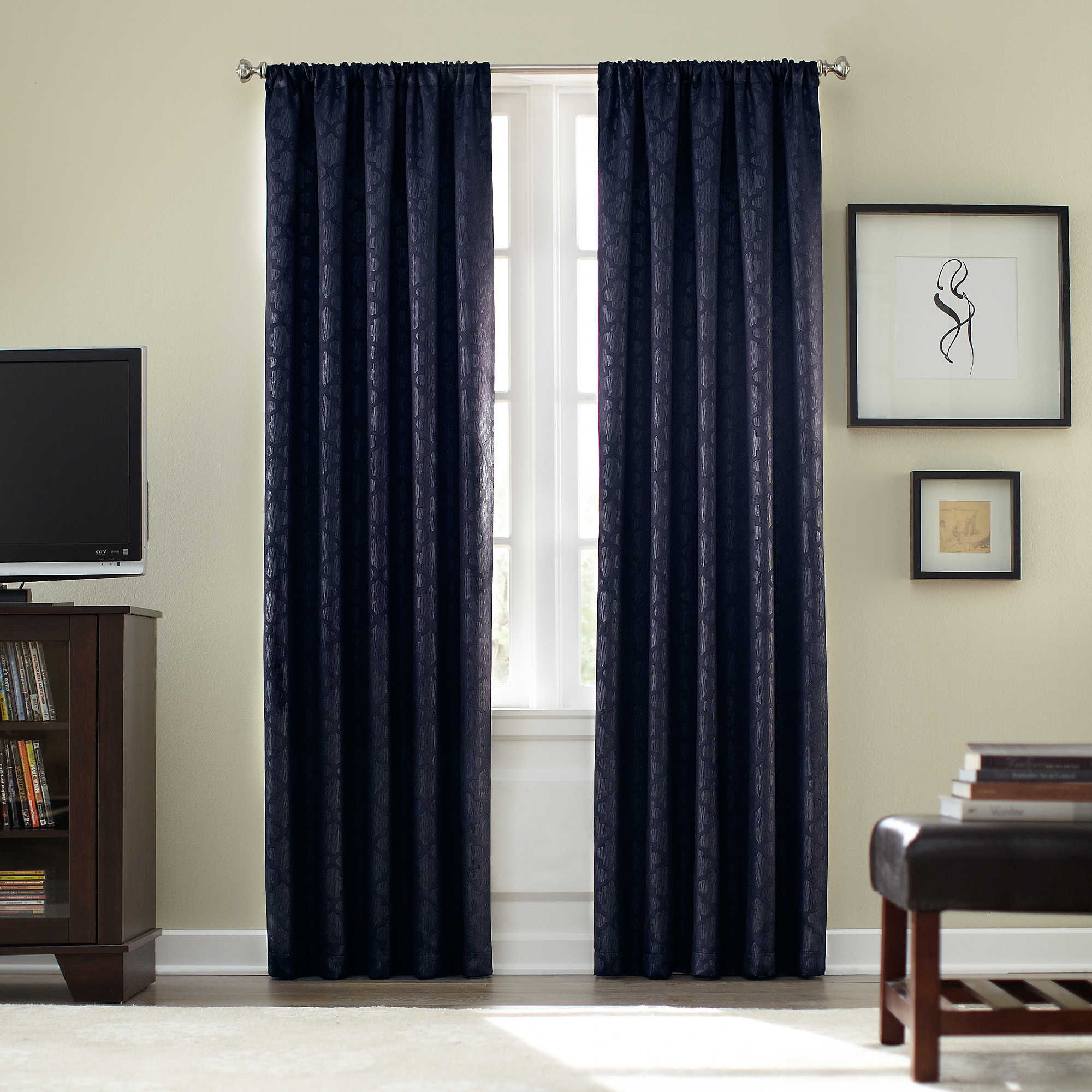 Bed against window with curtains  athena rod pocket blackout inch window curtain panel in sage