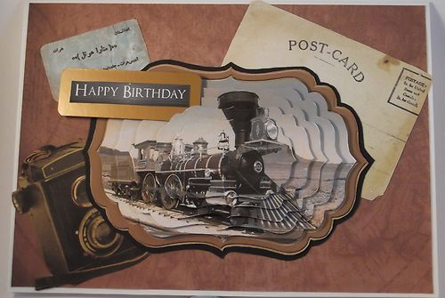 Vintage Birthday Cards For Him ~ Men s birthday card vintage steam train by wildthymecrafting