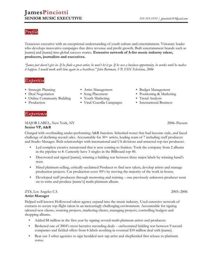 standard international cv format