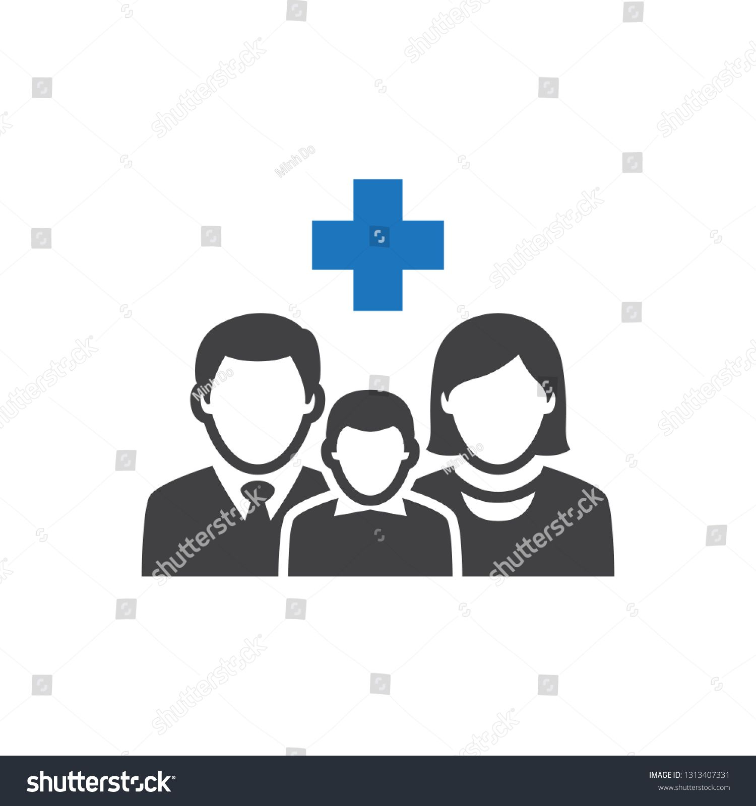 Medical family healthcare icon ad sponsored family