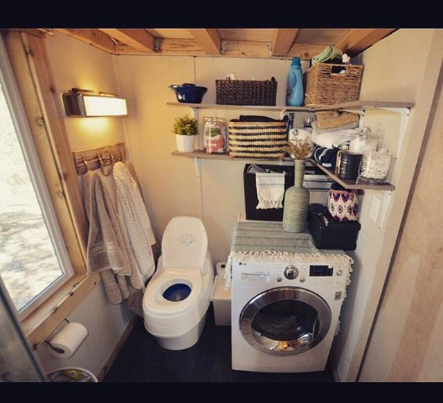 Tiny House Bathroom With Washer/Dryer Combo | Washer Dryer Combos