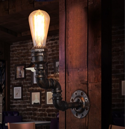 73.49$  Buy now - http://alixkx.worldwells.pw/go.php?t=32508067441 - Loft Style Industrial Vintage Wall Light For Home Antique Water Pipe Lamp Bedside Edison Wall Sconce Indoor Lighting 73.49$