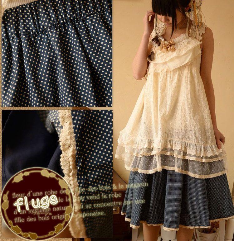 森ガールとナチュラルのかわいいオリジナルブランド服,fluge, ワンピースとスカートファッション