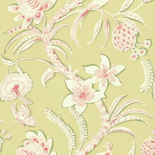 Ecuador 839 T 9250 Thibaut Wallpapers A Stylised Large Floral Trail Shown Here In Pale Green And White Flowers With Pink Detail Vinyl Coated This Is An