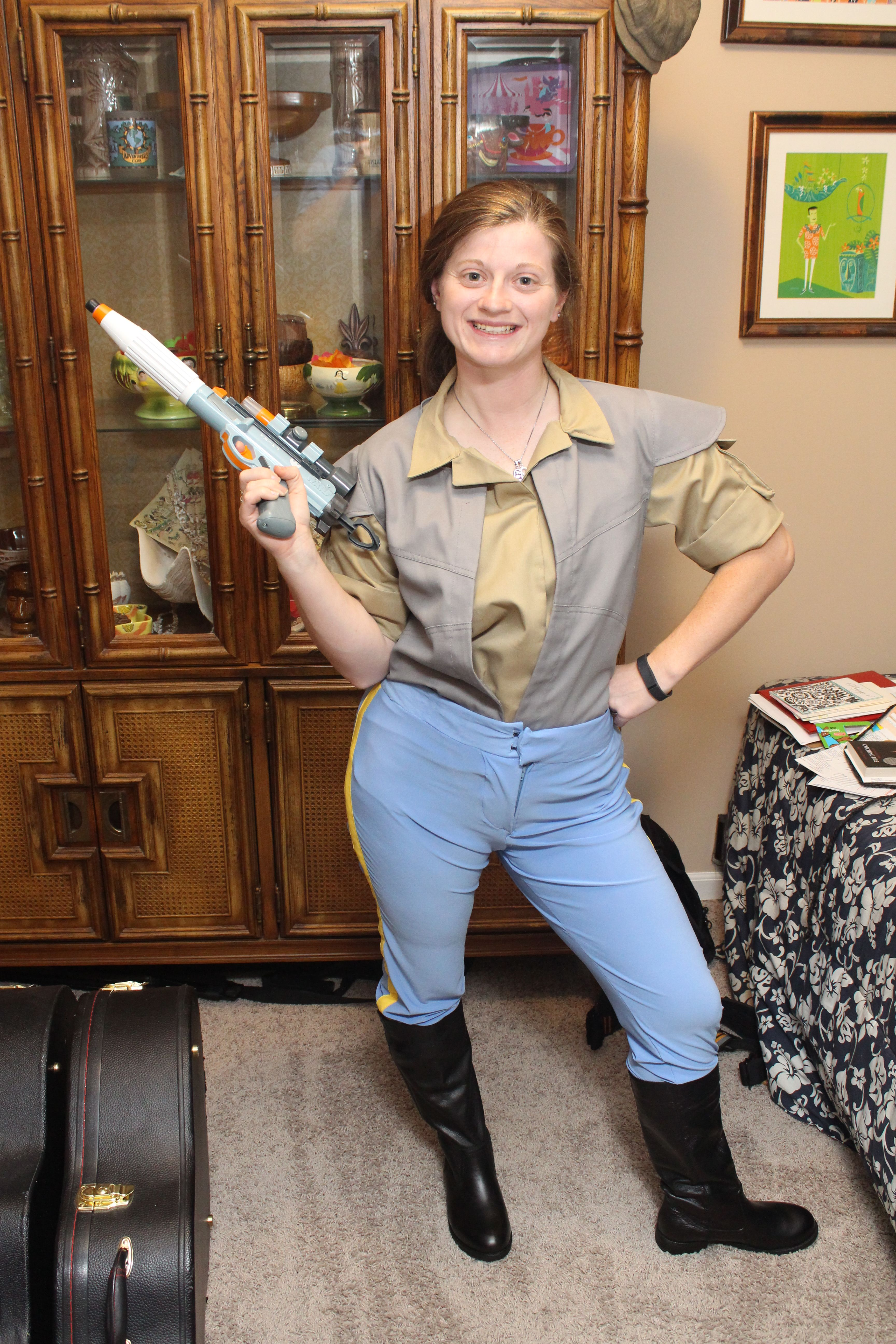 f0ddfa23 More updated Endor Leia costume with boots, pants, shirt, and vest. The  vest still needs a bottom closure to keep it more closed up at the bottom.