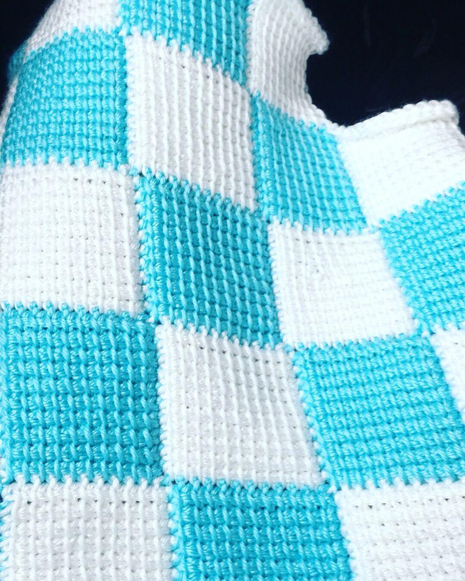 Tunisian entrelac crochet boy baby shower gift. | Carmen\'s Crochet ...