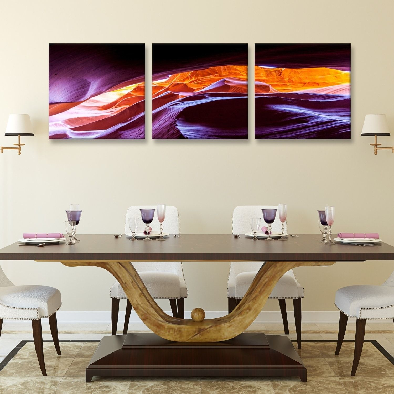Furinno Seni Scenic Canyon Antelope 3 Panel Canvas On Wood Frame,