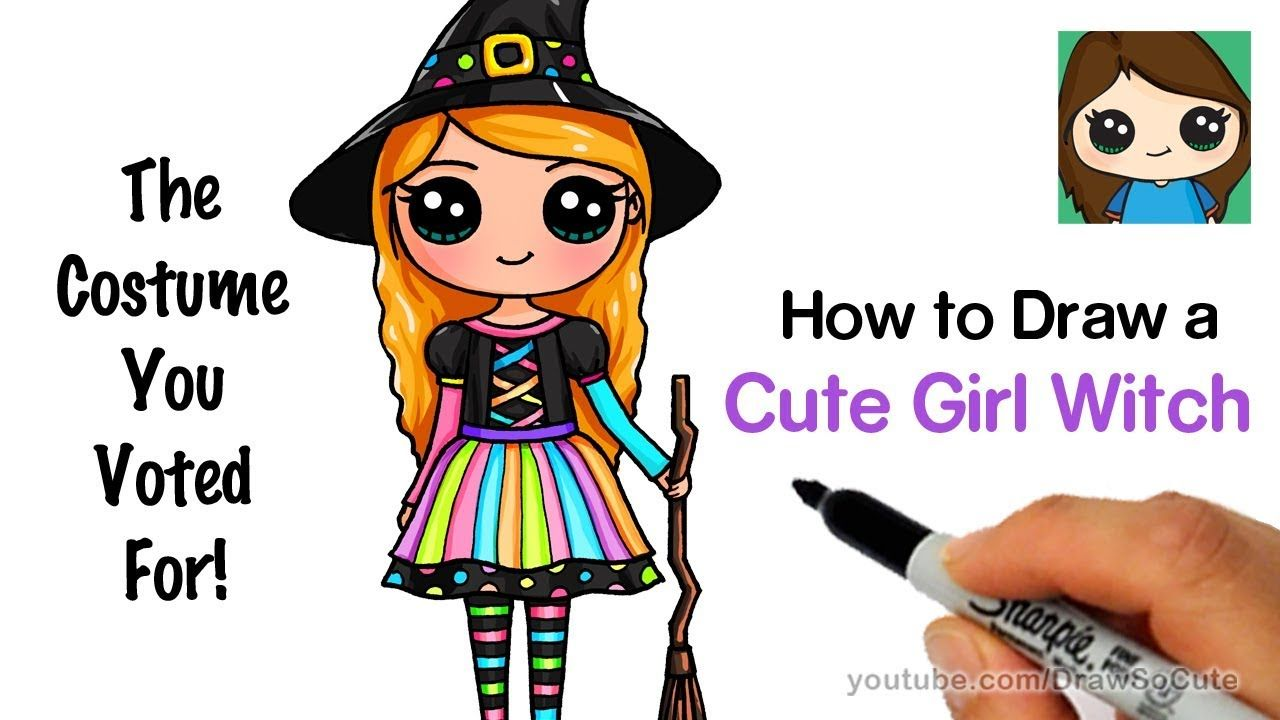 How To Draw A Cute Girl In A Witch Costume Youtube Baby Girl