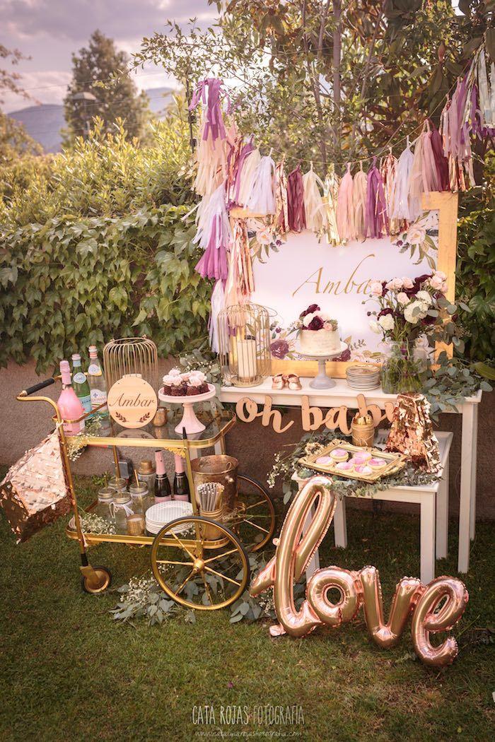 Burgundy Blush Gold Boho Baby Shower Decoration Parties