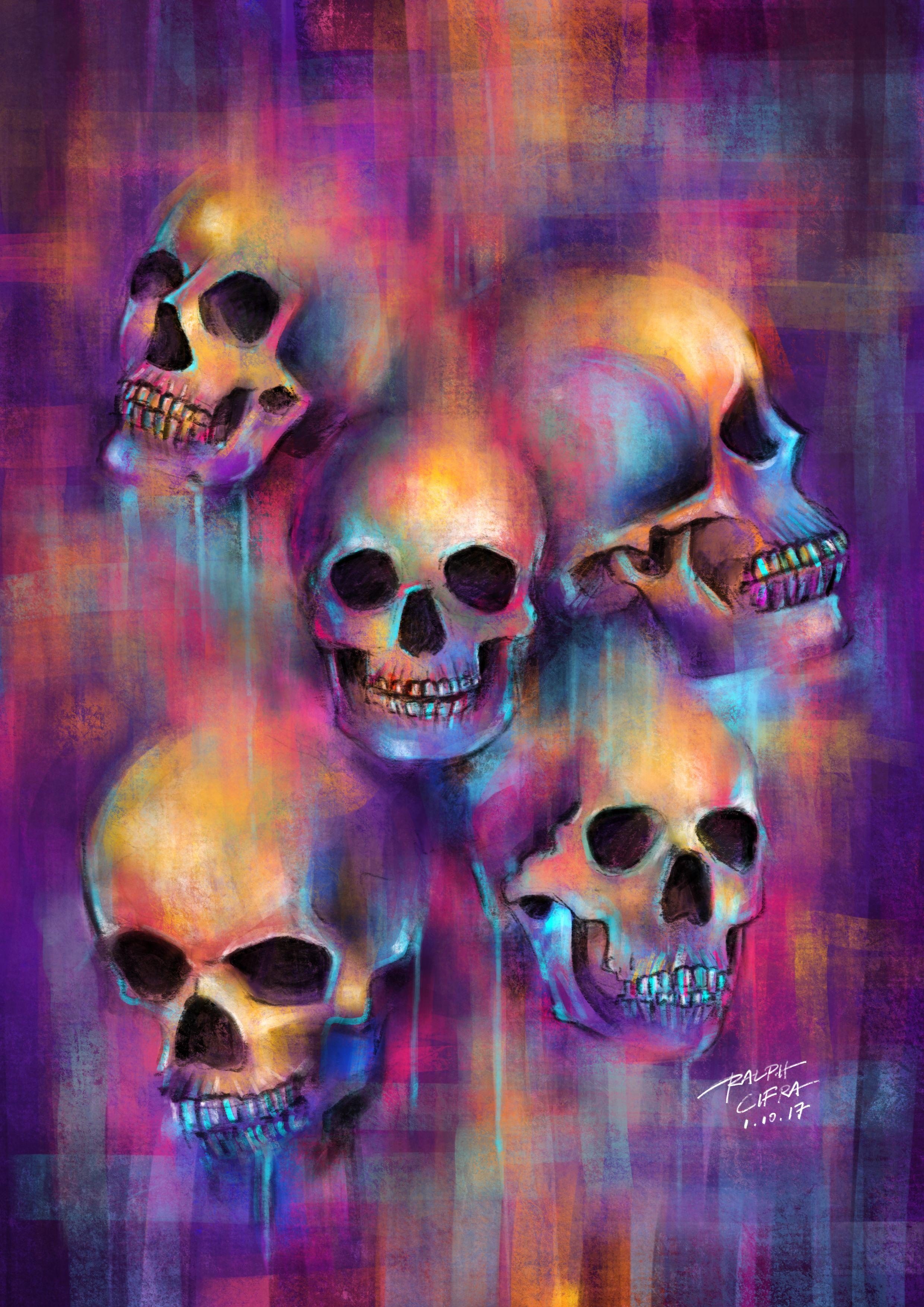 neon skulls painting on