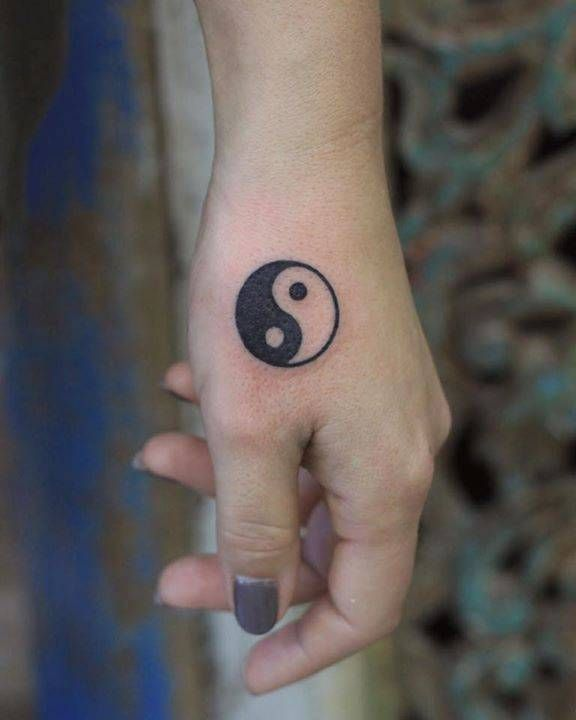 Little Yin And Yang Tattoo On The Hand Tattoos Ying Yang