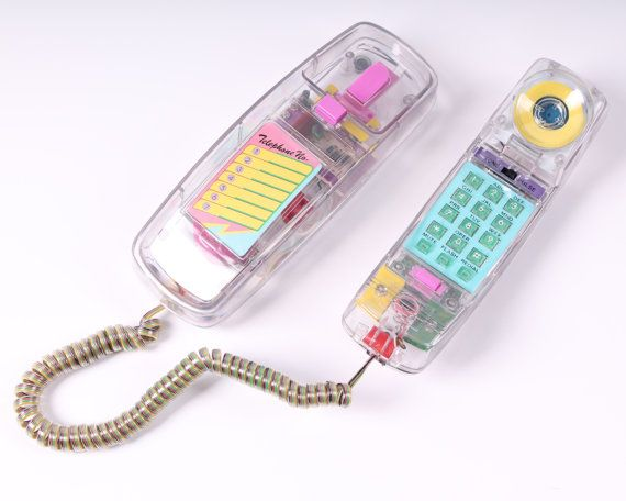 vintage NEON clear telephone touch tone see through