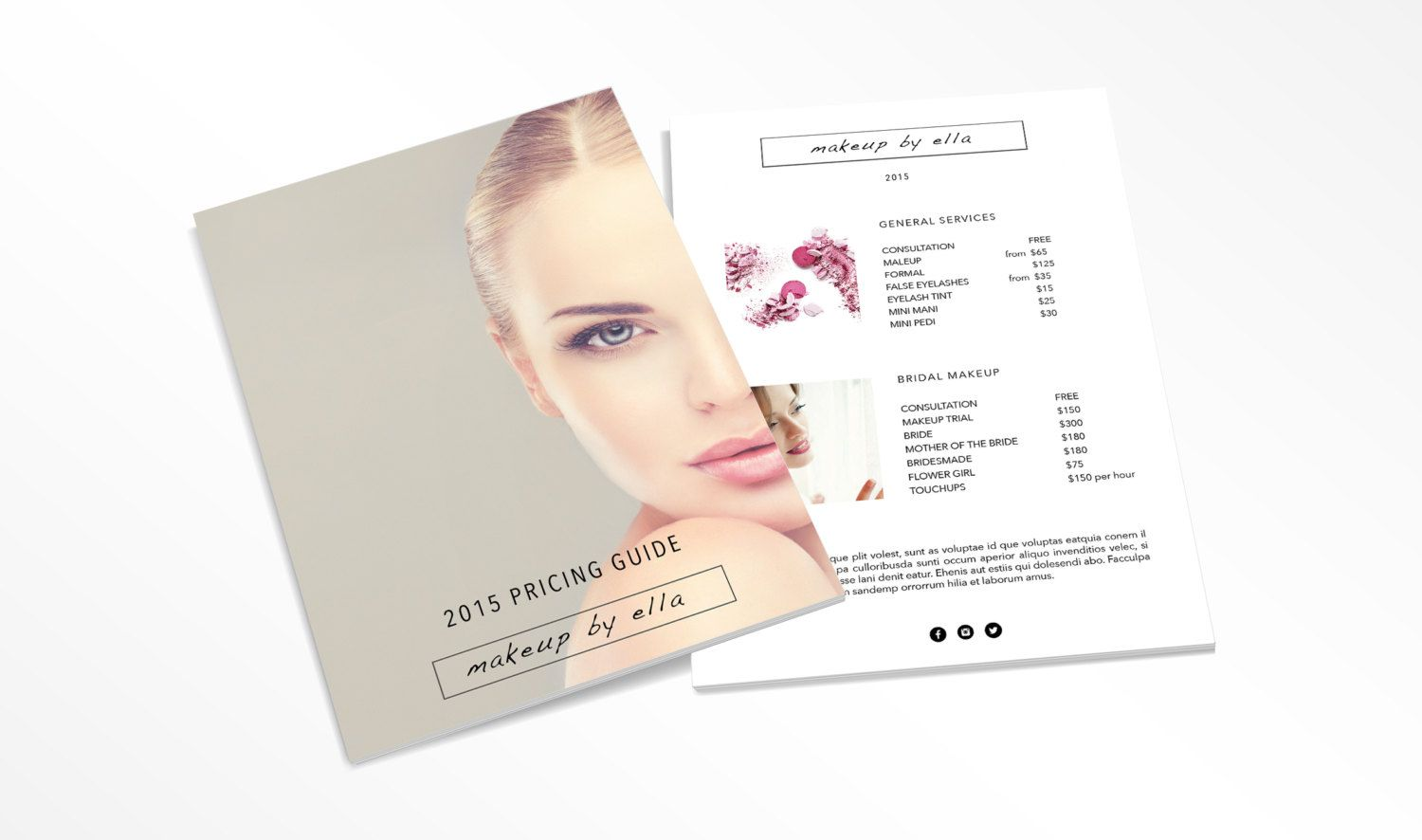 Makeup Price List Price Guide Design Template By EmandCoDesign - How to make a invoice in excel 2007 cheap online makeup stores