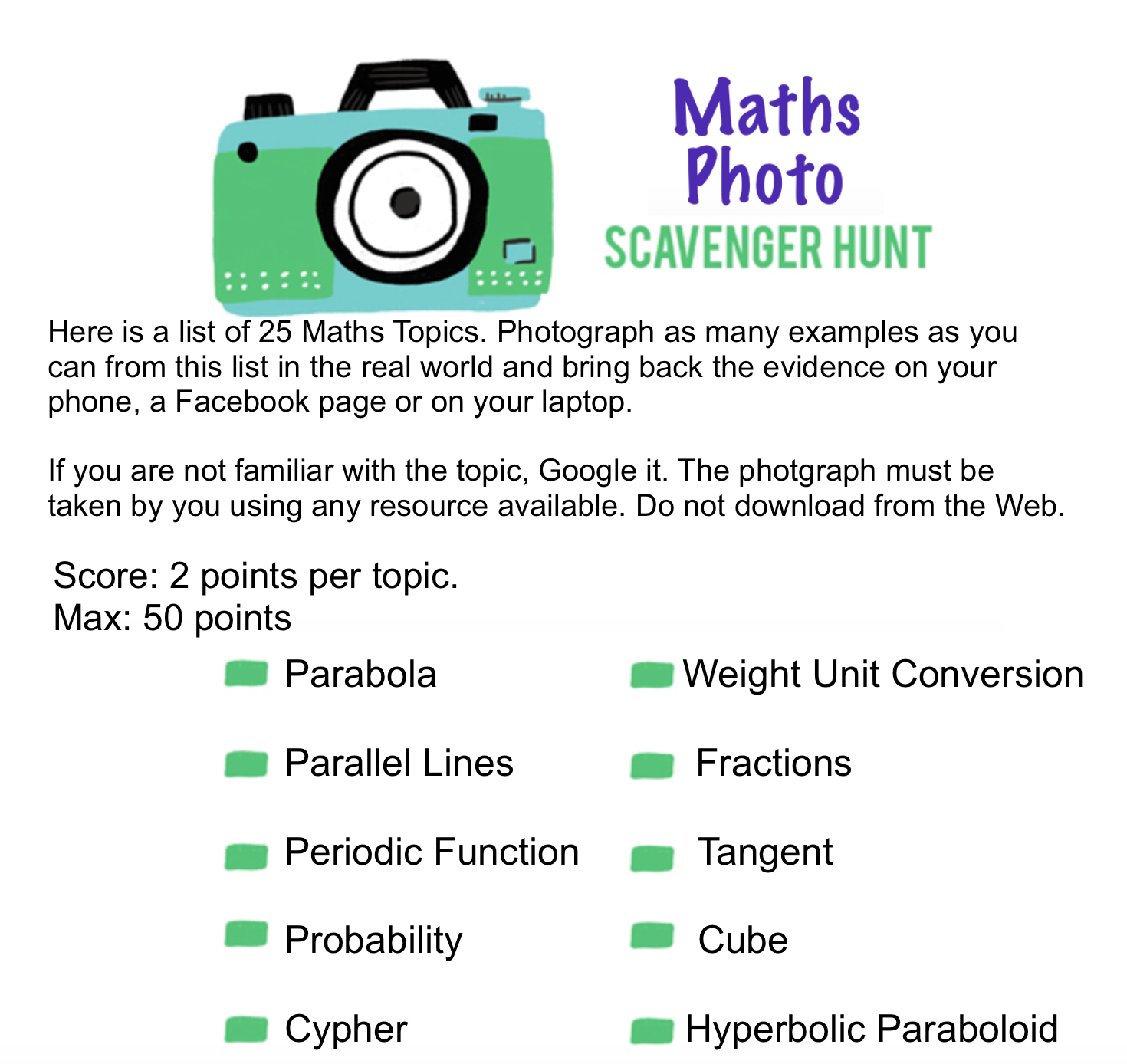 Maths Photo Scavenger Hunt Worksheet 1