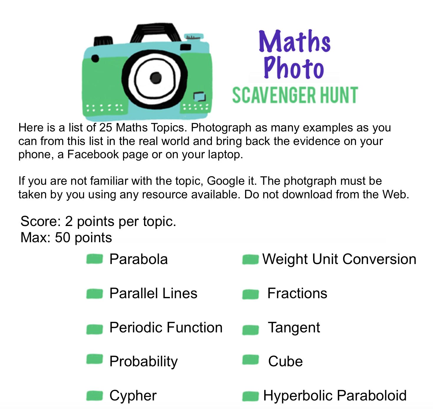 Maths Photo Scavenger Hunt Worksheet 1