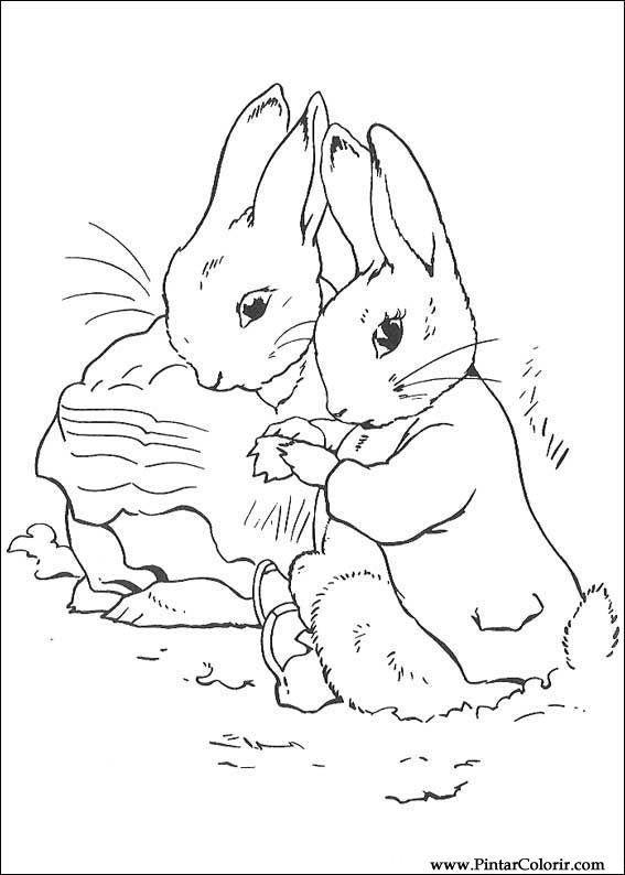 Pintar e Colorir Peter Rabbit - Desenho 013 | rabbits | Pinterest