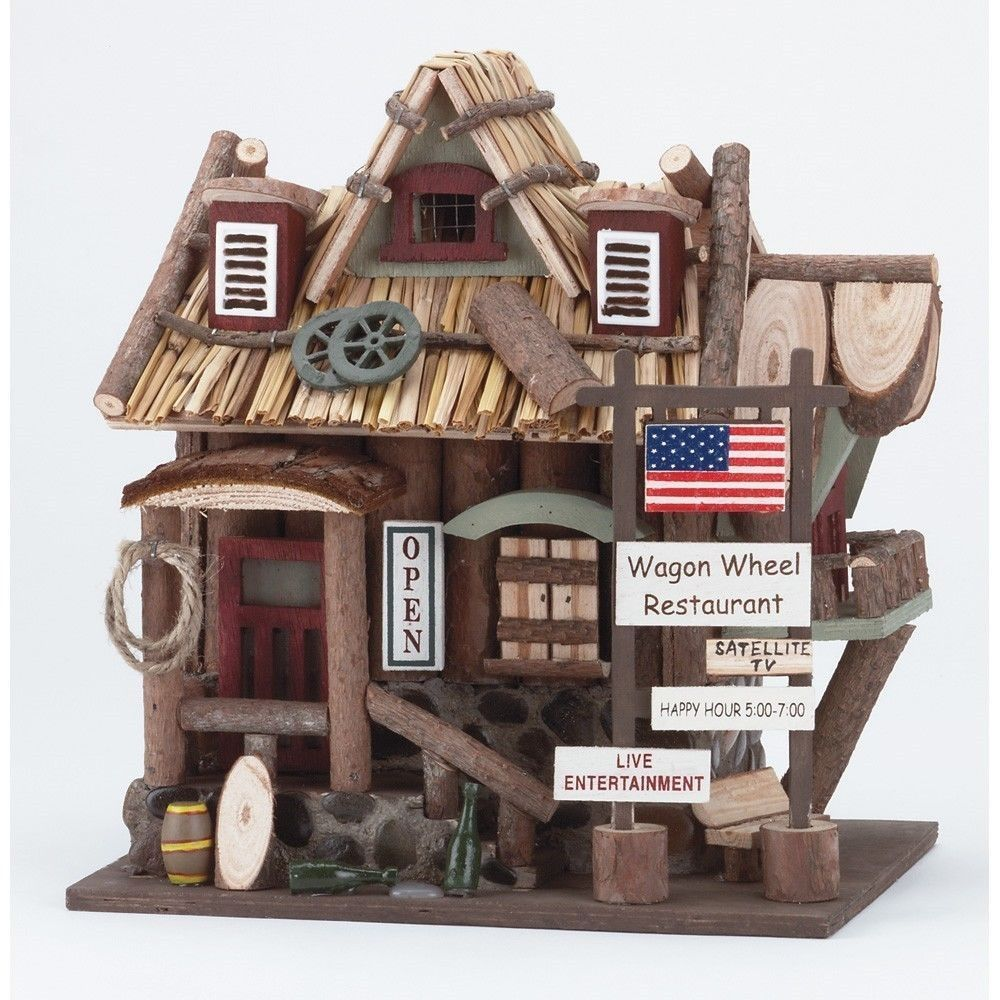 American Western Hotel Restaurant Birdhouse Cowboy Country Garden Outdoor Decor