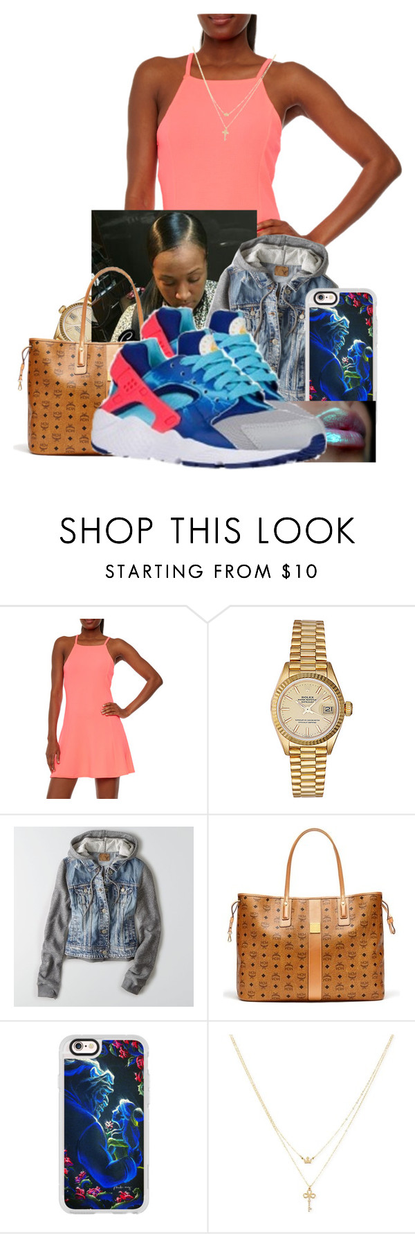 """"" by aniahrhichkhidd ❤ liked on Polyvore featuring Rolex, American Eagle Outfitters, MCM, Casetify, NIKE and Betsey Johnson"