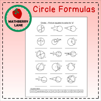 Circle Formulas Review Graphic Organizer G C A 2 Circle
